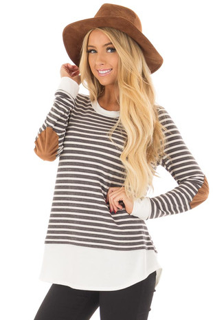 Charcoal and Ivory Striped Top with Elbow Patches front closeup