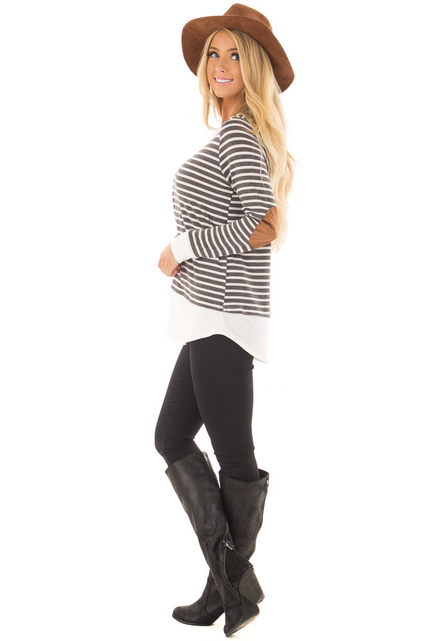Charcoal and Ivory Striped Top with Elbow Patches side full body