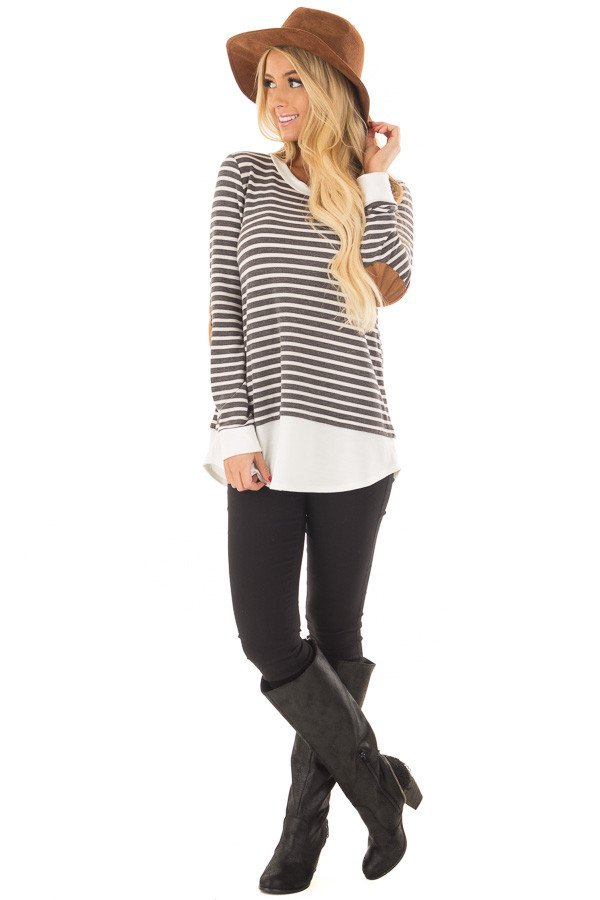 Charcoal and Ivory Striped Top with Elbow Patches front full body