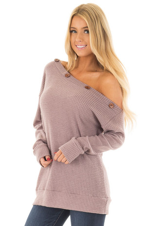 Lavender Waffle Knit Off the Shoulder Top with Button Detail front closeup
