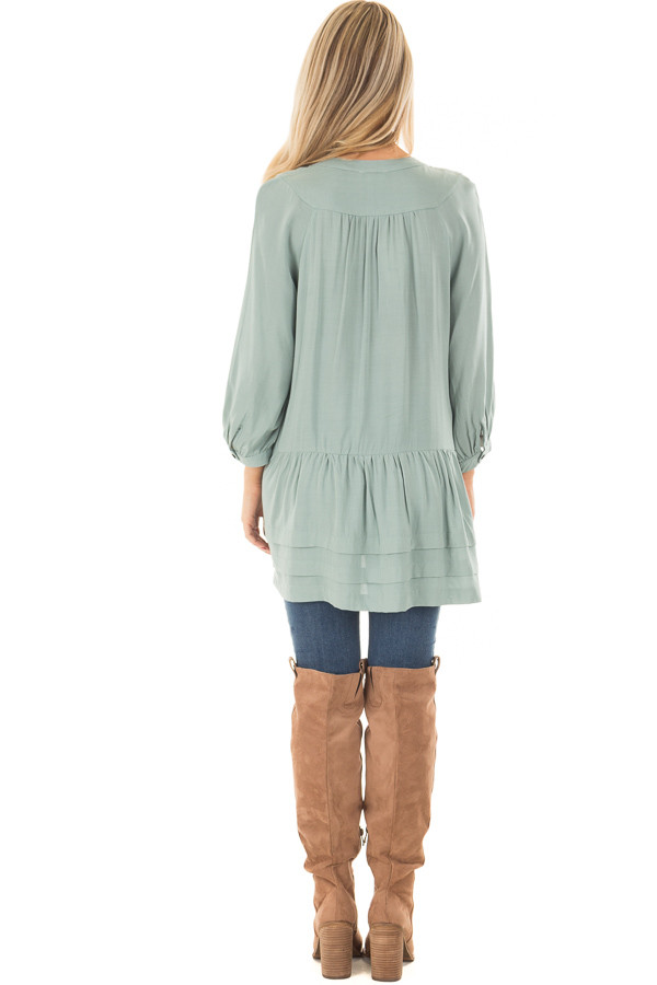 Slate Blue Button Up Tunic with Hidden Pockets back full body