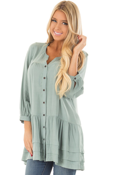 Slate Blue Button Up Tunic with Hidden Pockets front close up