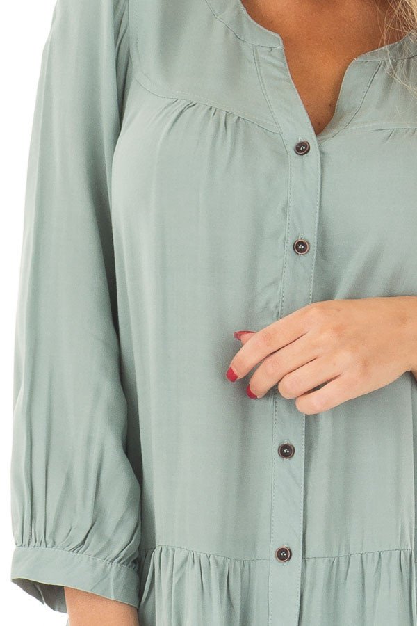 Slate Blue Button Up Tunic with Hidden Pockets front detail