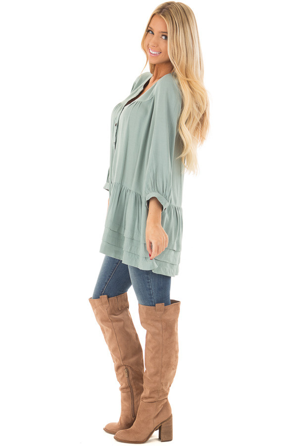 Slate Blue Button Up Tunic with Hidden Pockets side full body