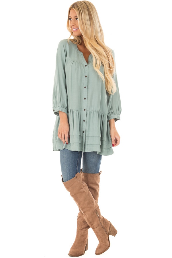 Slate Blue Button Up Tunic with Hidden Pockets front full body