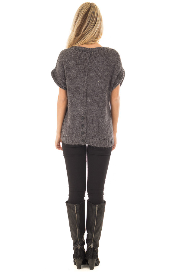 Charcoal Short Sleeve Sweater with Pearl Detail back full body