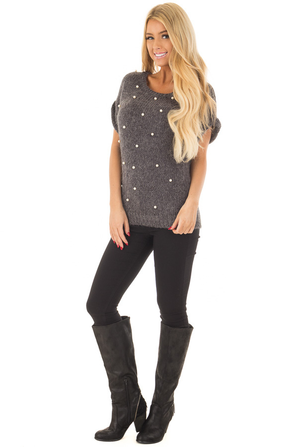 Charcoal Short Sleeve Sweater with Pearl Detail front full body