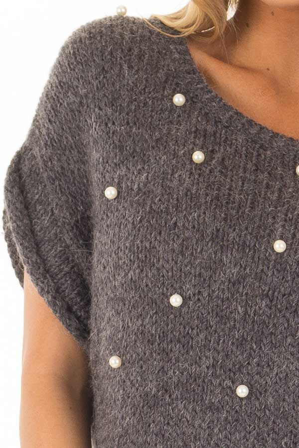 Charcoal Short Sleeve Sweater with Pearl Detail front detail