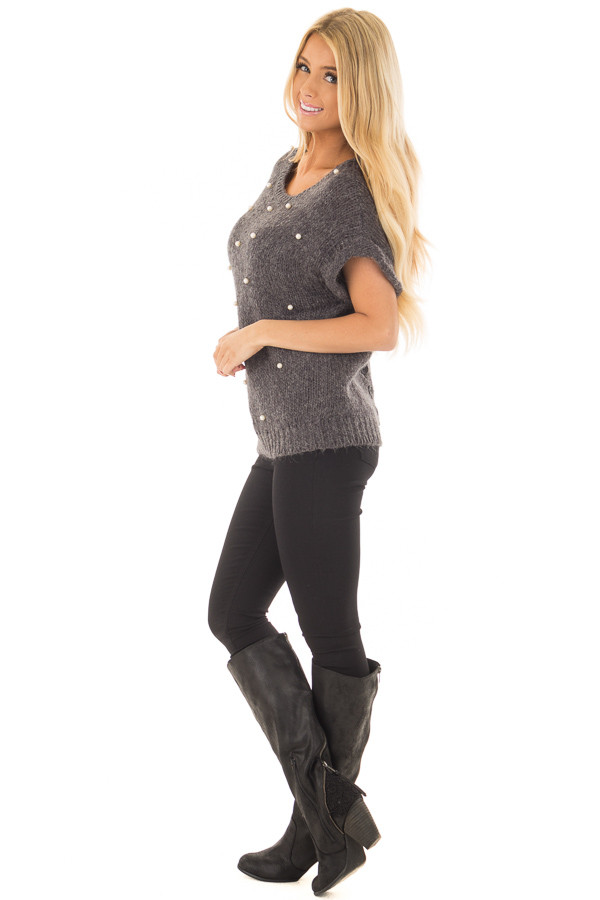 Charcoal Short Sleeve Sweater with Pearl Detail side full body