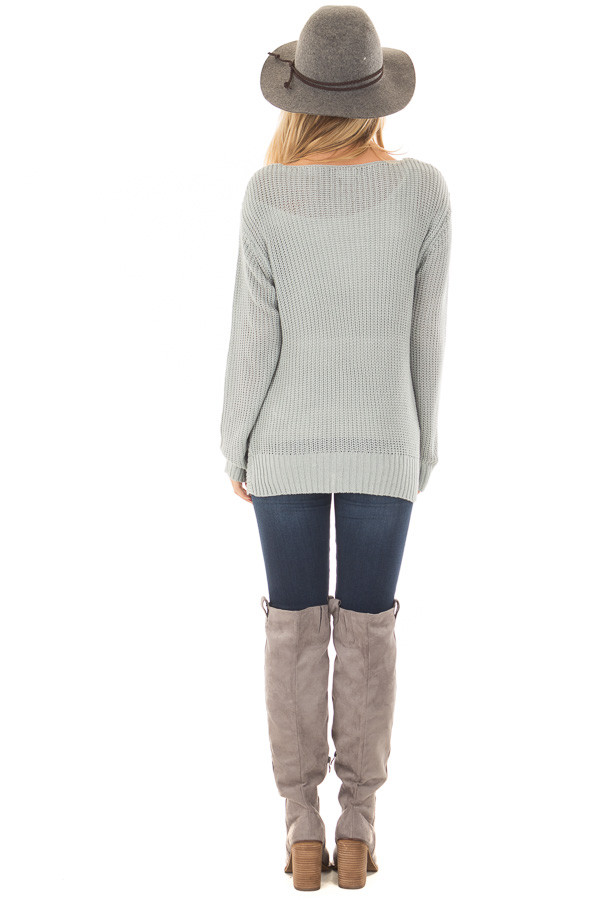 Baby Blue Lightweight Sweater with Front Twist Detail back full body
