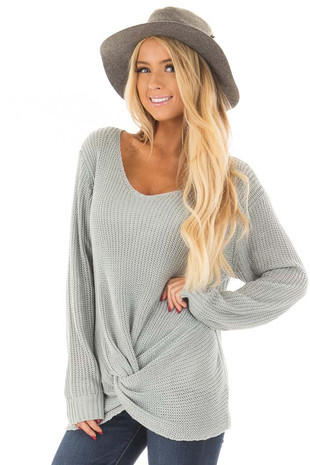 Baby Blue Lightweight Sweater with Front Twist Detail front closeup
