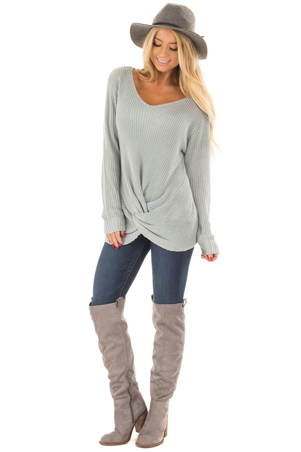 Baby Blue Lightweight Sweater with Front Twist Detail front full body