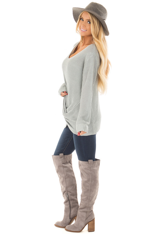 Baby Blue Lightweight Sweater with Front Twist Detail side full body