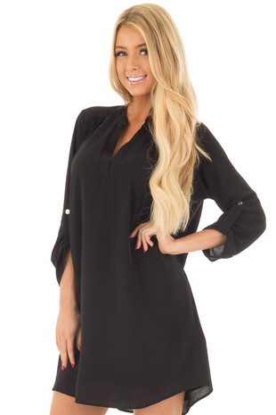 Black V Neck Dress with Roll Up Sleeves front closeup