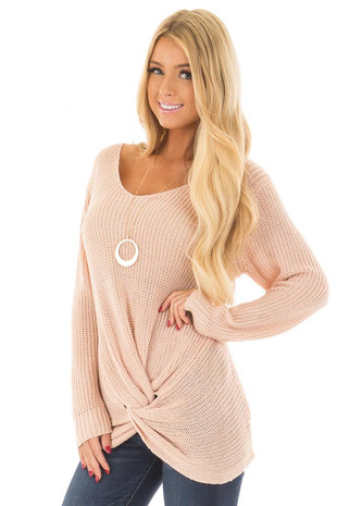 Blush Lightweight Sweater with Front Twist Detail front closeup