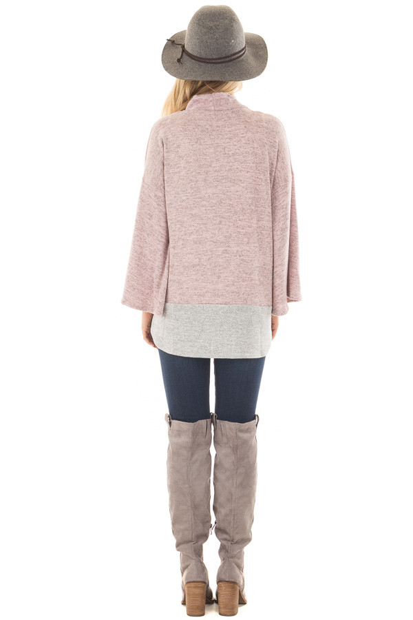Mauve Two Tone High Neck Top with Heather Grey Contrast back full body