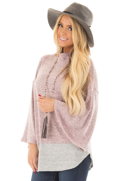 Mauve Two Tone High Neck Top with Heather Grey Contrast front closeup