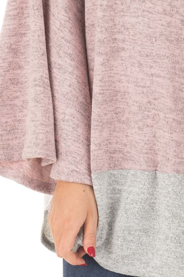 Mauve Two Tone High Neck Top with Heather Grey Contrast front detail