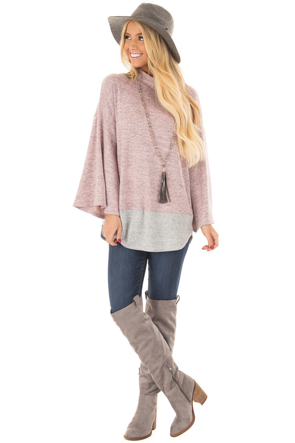 Mauve Two Tone High Neck Top with Heather Grey Contrast front full body