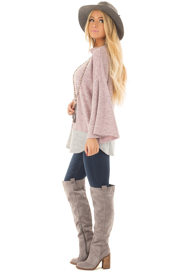 Mauve Two Tone High Neck Top with Heather Grey Contrast side full body