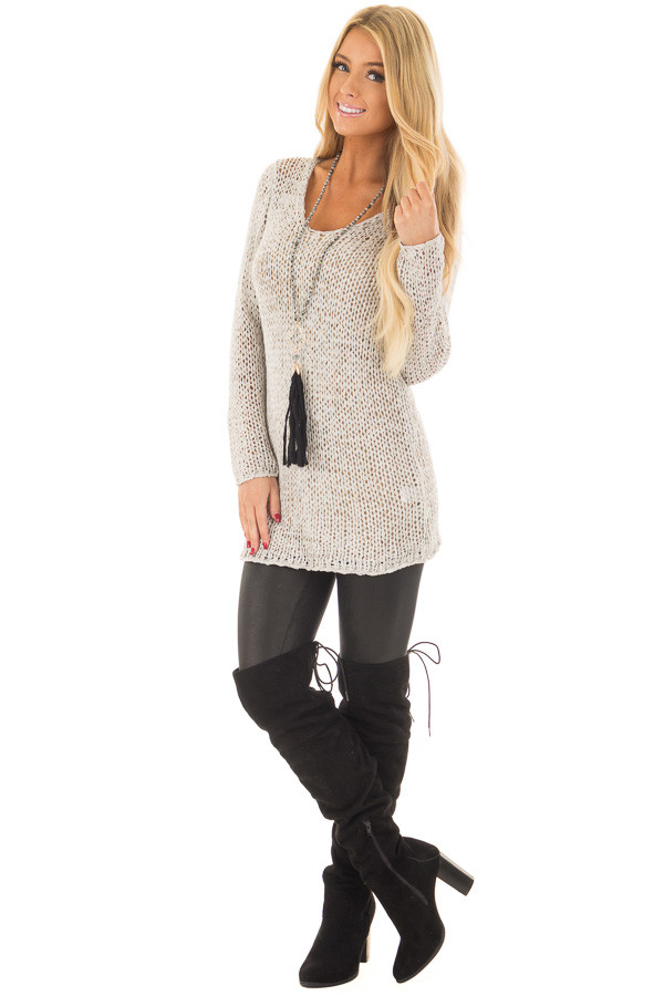 Cement Grey Loose Knit Sheer V Neck Tunic front full body