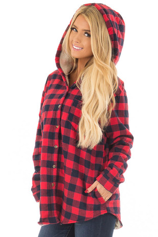 Red Plaid Jacket with Ivory Super Soft Sherpa Lining front closeup