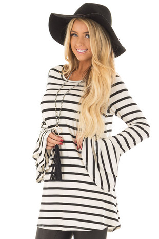Ivory and Black Striped Tunic with Tiered Bell Sleeves front closeup