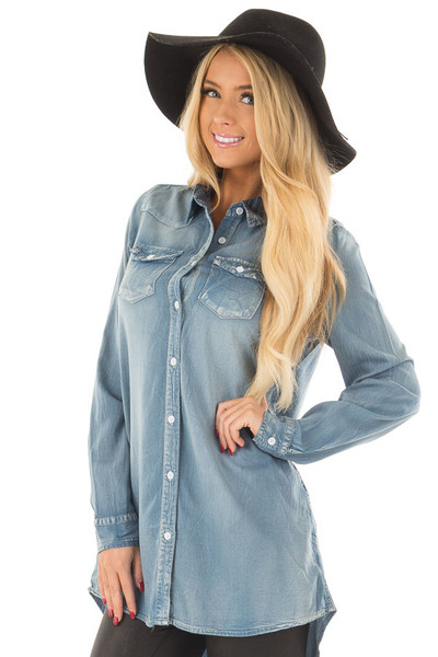 Faded Light Denim Chambray Button Down Tunic front closeup