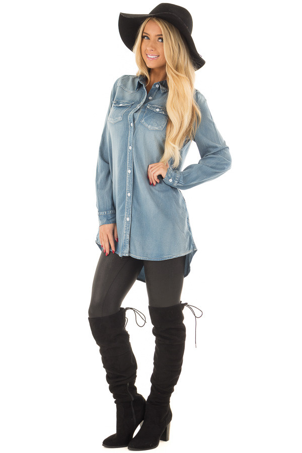 Faded Light Denim Chambray Button Down Tunic front full body