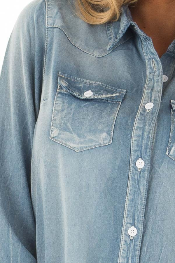 Faded Light Denim Chambray Button Down Tunic front detail