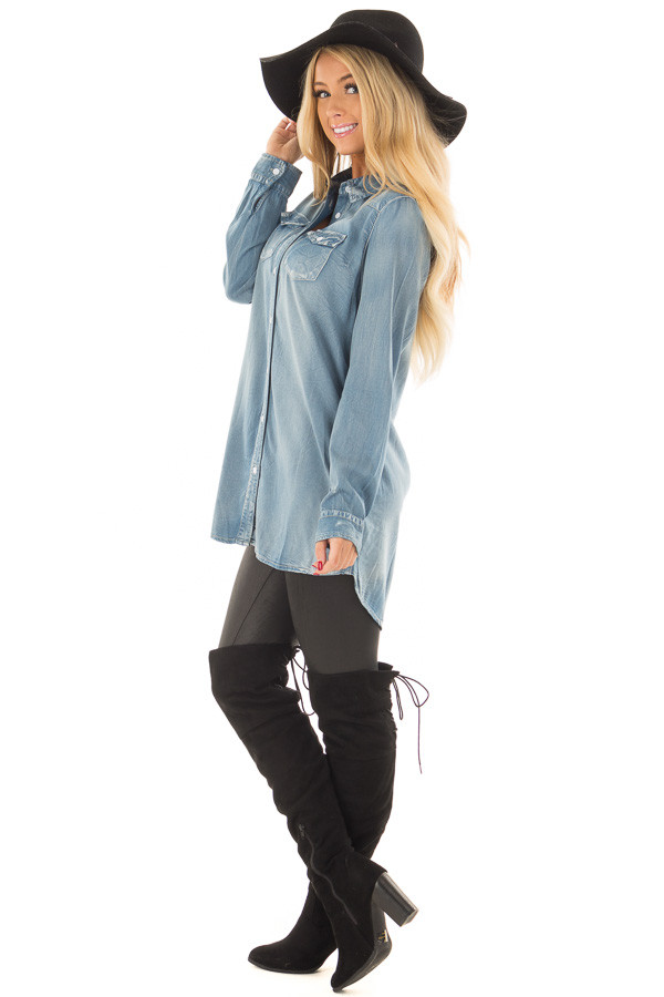 Faded Light Denim Chambray Button Down Tunic side full body