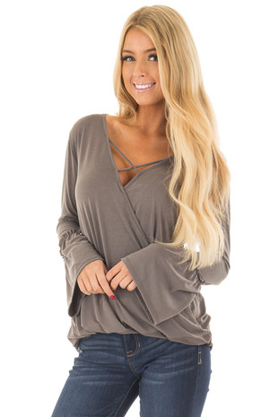 Olive Wrap Style Top with Strap Detail front closeup