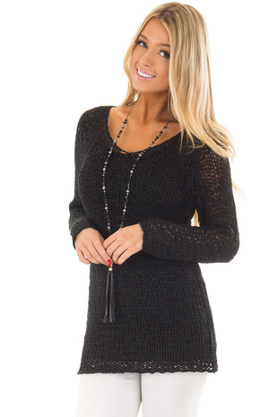Black Loose Knit Sheer V Neck Tunic front closeup