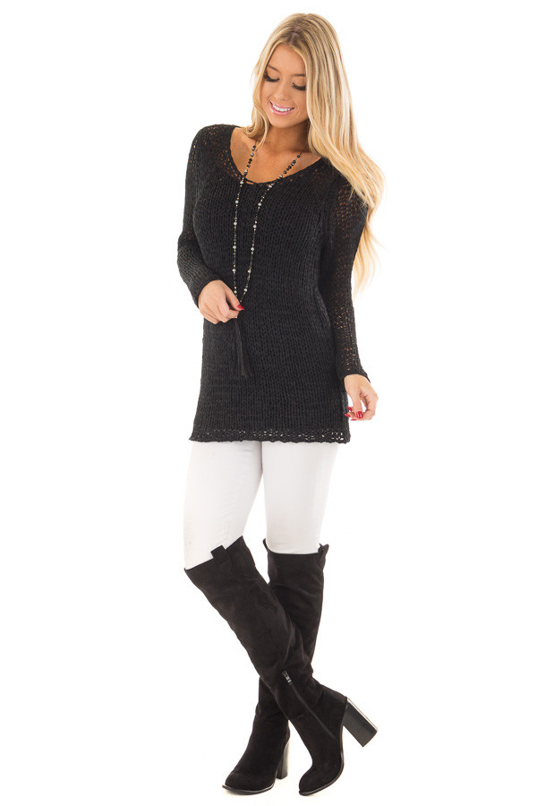 Black Loose Knit Sheer V Neck Tunic front full body