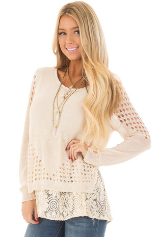 Natural Knit Top with Lace and Sheer Textured Details front closeup