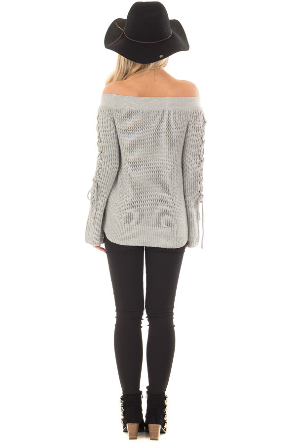 Heather Grey Off the Shoulder Sweater with Lace Up Detail back full body