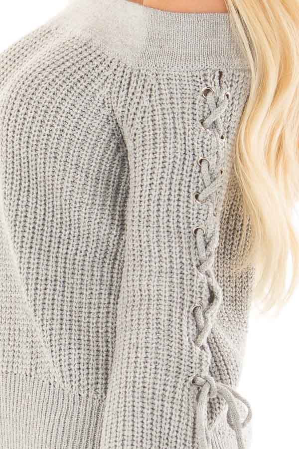 Heather Grey Off the Shoulder Sweater with Lace Up Detail side detail