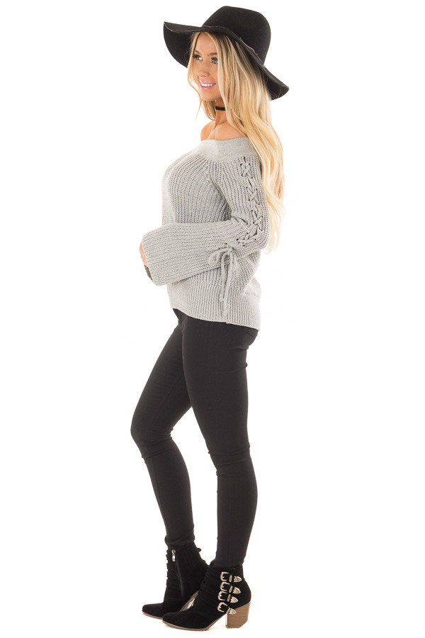 Heather Grey Off the Shoulder Sweater with Lace Up Detail side full body