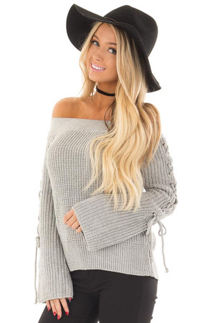 Heather Grey Off the Shoulder Sweater with Lace Up Detail front closeup