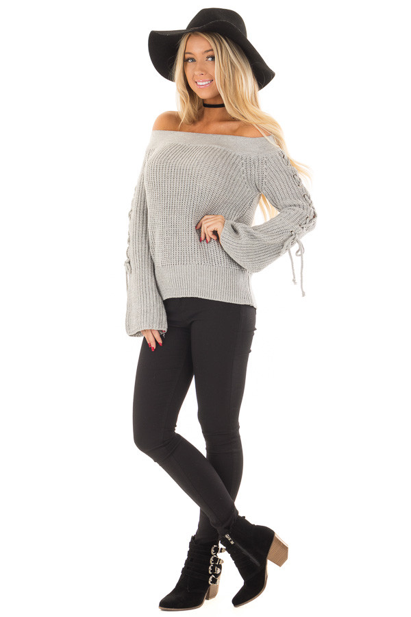 Heather Grey Off the Shoulder Sweater with Lace Up Detail front full body