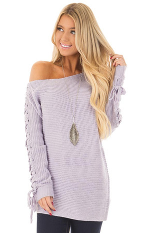 Lilac Off the Shoulder Lace Up Long Sleeve Sweater front closeup