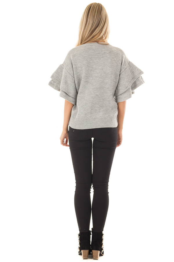 Heather Grey Short Tiered Bell Sleeve Sweater back full body