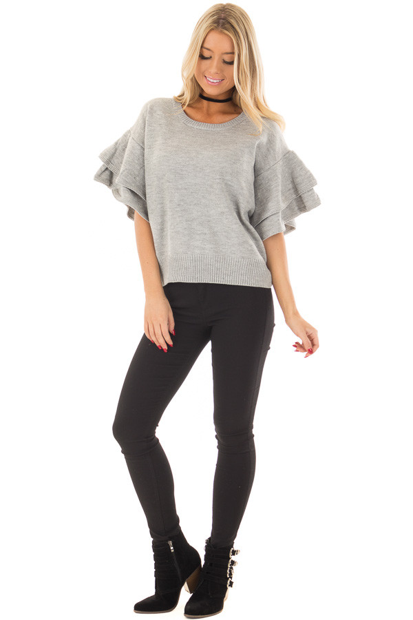 Heather Grey Short Tiered Bell Sleeve Sweater front full body