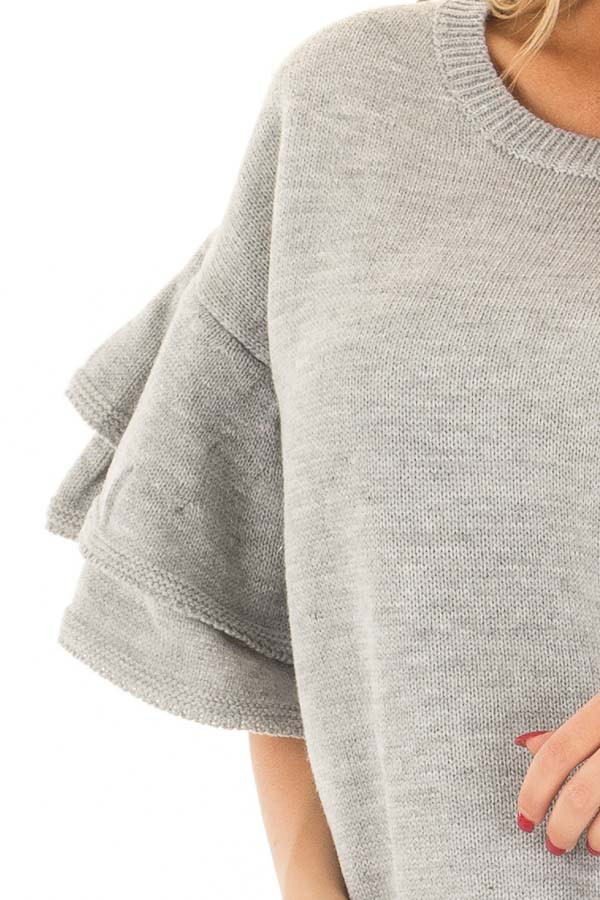 Heather Grey Short Tiered Bell Sleeve Sweater front detail