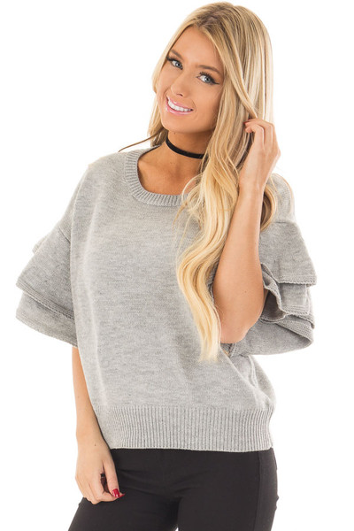 Heather Grey Short Tiered Bell Sleeve Sweater front closeup