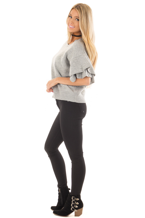 Heather Grey Short Tiered Bell Sleeve Sweater side full body