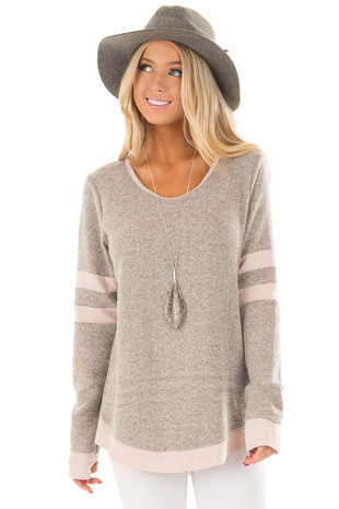 Taupe Super Soft Top with Blush Varsity Stripe Contrast front close up