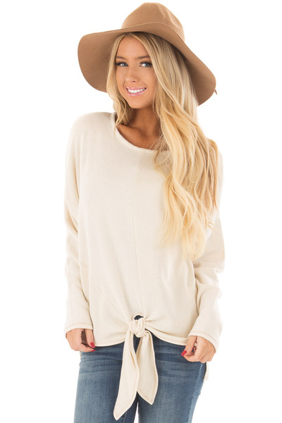 Cream Long Sleeve Top with Front Tie Detail front closeup