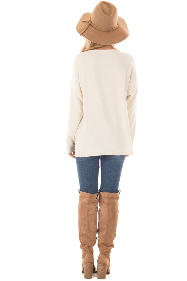 Cream Long Sleeve Top with Front Tie Detail back full body