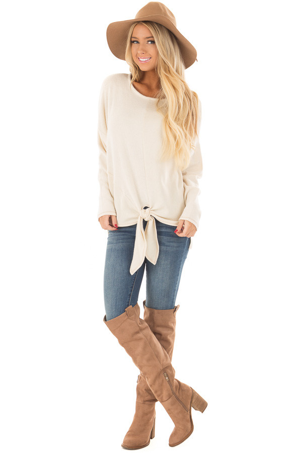 Cream Long Sleeve Top with Front Tie Detail front full body
